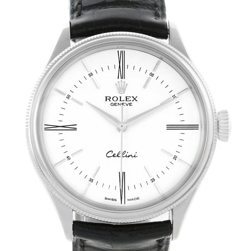 Rolex Cellini Time 18K White Gold Mens Watch 50509 Box Papers SwissWatchExpo