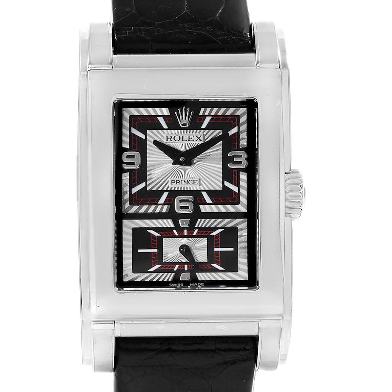 Rolex Cellini Prince Black Dial 18K White Gold Mens Watch 5443 Unworn SwissWatchExpo