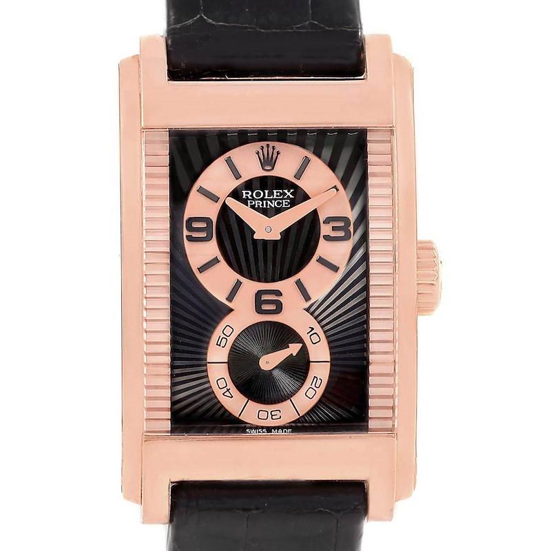 Rolex Cellini Prince Black Dial 18K Rose Gold Mens 5442 Unworn SwissWatchExpo