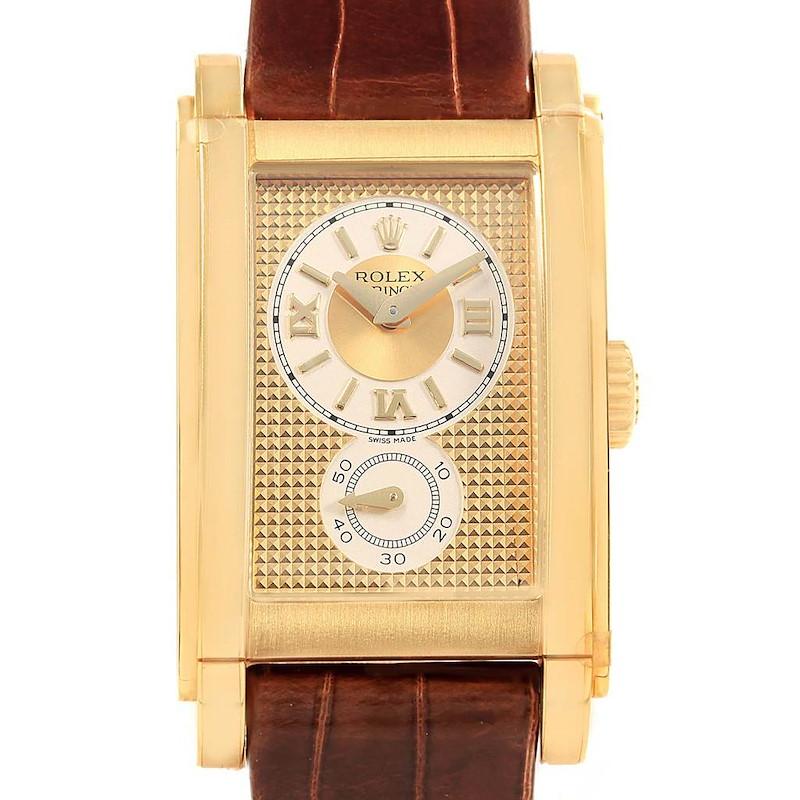 Rolex Cellini Prince Yellow Gold Brown Strap Mens Watch 5440 Unworn SwissWatchExpo