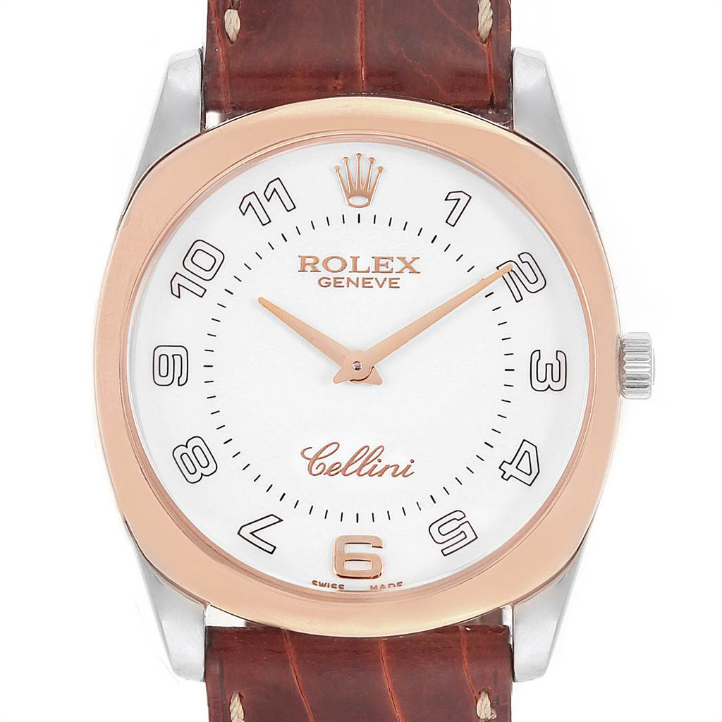 Photo of Rolex Cellini Danaos 18K White Rose Gold Brown Strap Mens Watch 4233