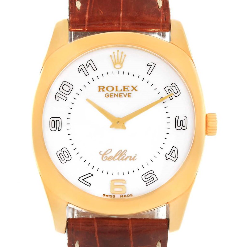 Rolex Cellini Danaos Yellow Gold Brown Strap Mens Watch 4233 Box Papers SwissWatchExpo