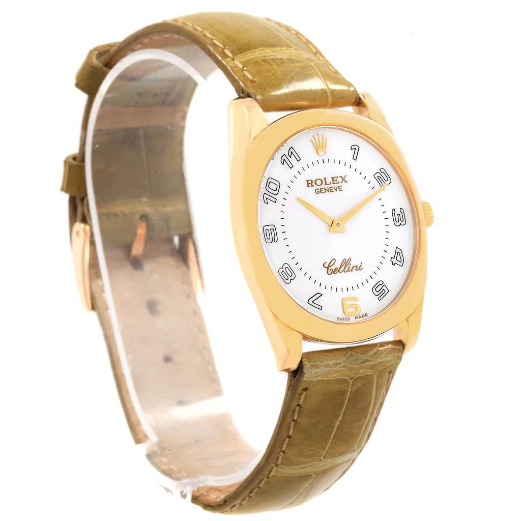 19906 Rolex Cellini Danaos Yellow Gold Brown Strap Mens Watch 4233 Papers SwissWatchExpo