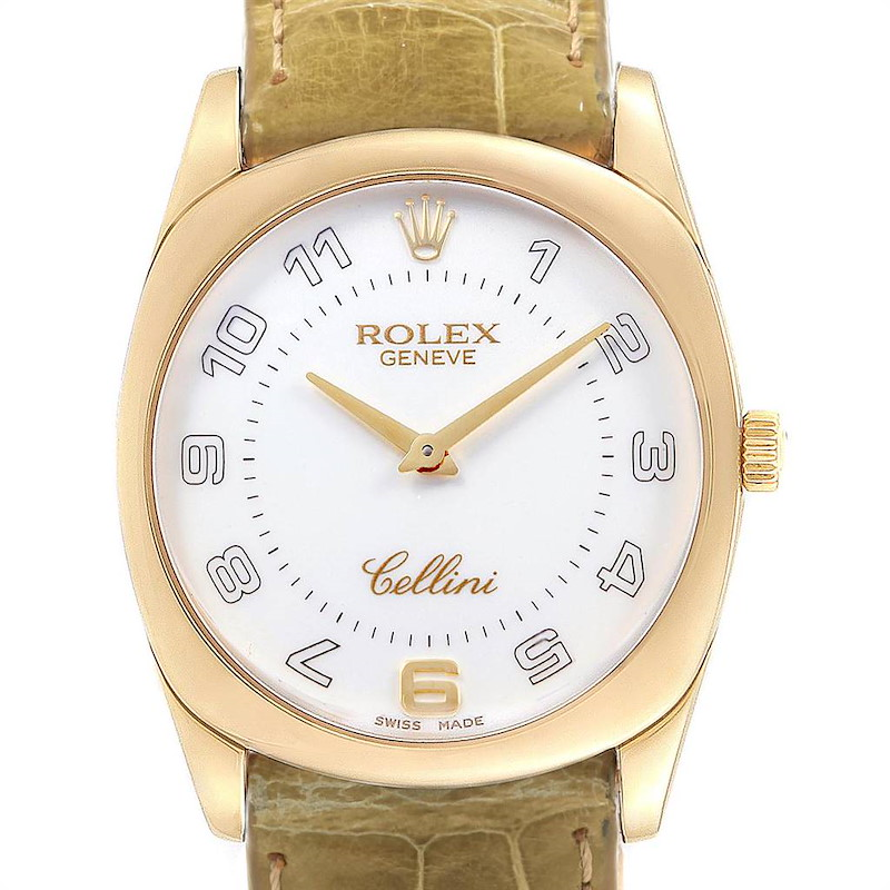 Rolex Cellini Danaos Yellow Gold Olive Green Strap Mens Watch 4233 Papers SwissWatchExpo