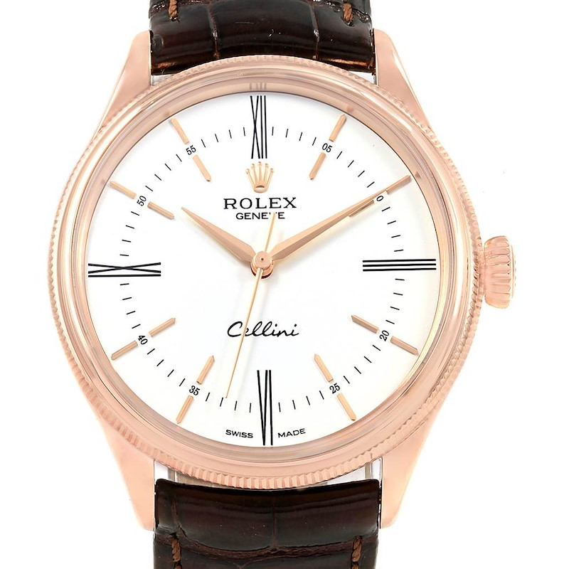 Rolex Cellini Time 18K EveRose Gold White Dial Mens Watch 50505 SwissWatchExpo