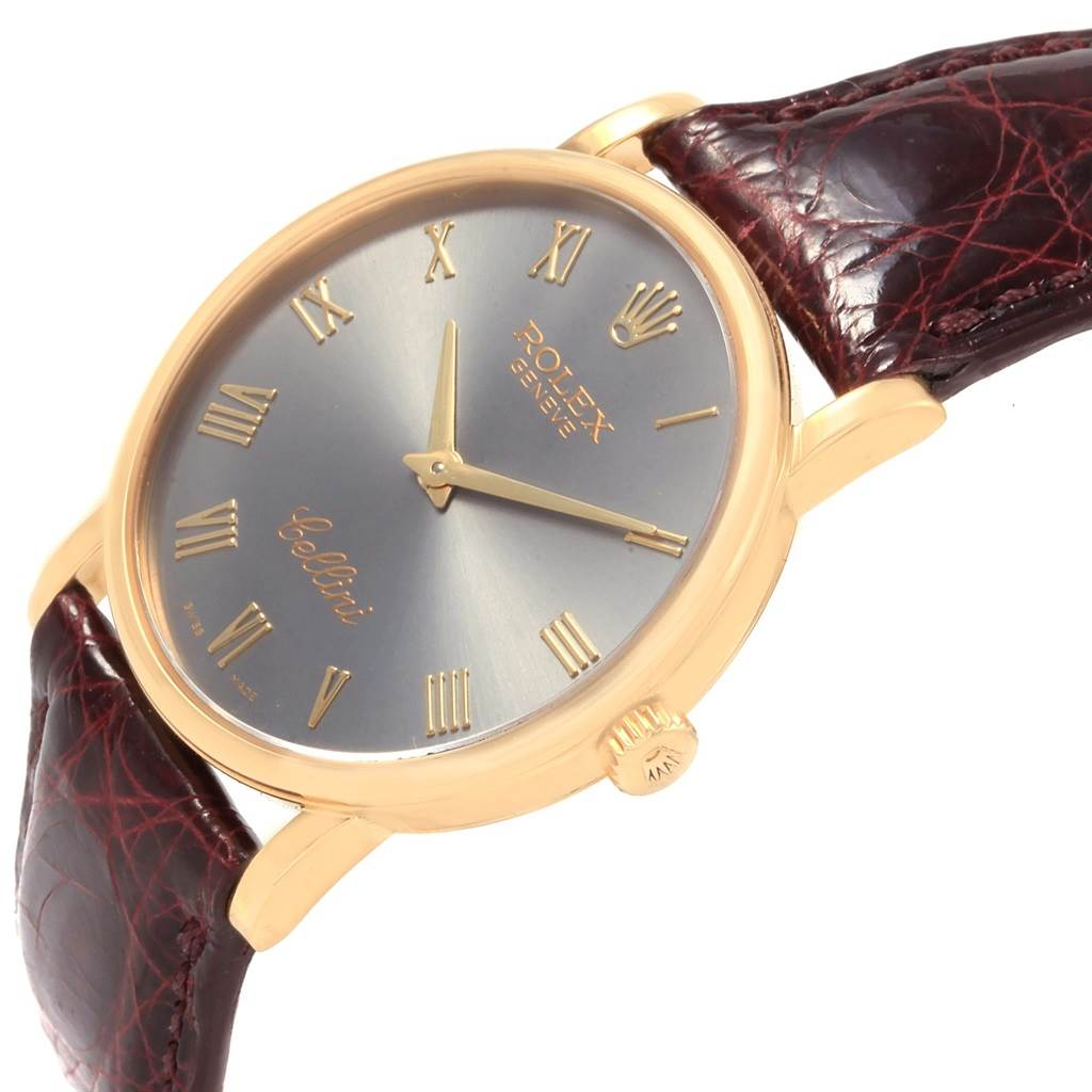 20952 Rolex Cellini Classic 18K Yellow Gold Slate Roman Dial Watch 5115 SwissWatchExpo