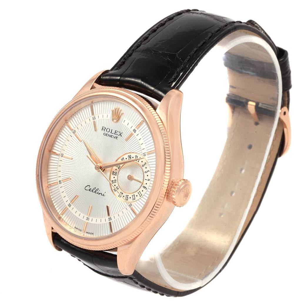 21218 Rolex Cellini Date 18K Everose Gold Silver Dial Automatic Watch 50515 SwissWatchExpo