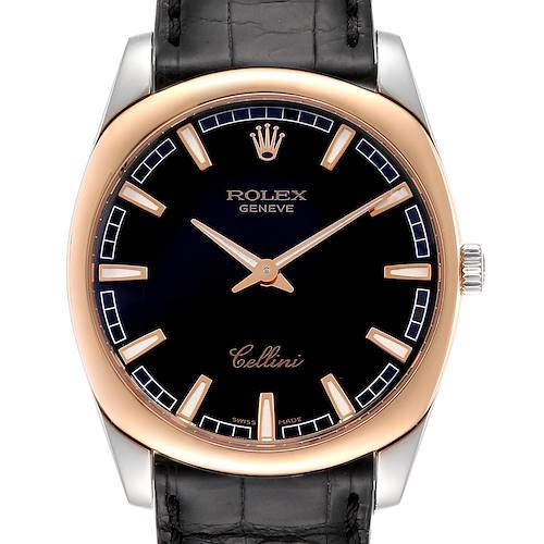 Photo of Rolex Cellini Danaos 18k White and Rose Gold Black Dial Watch 4243