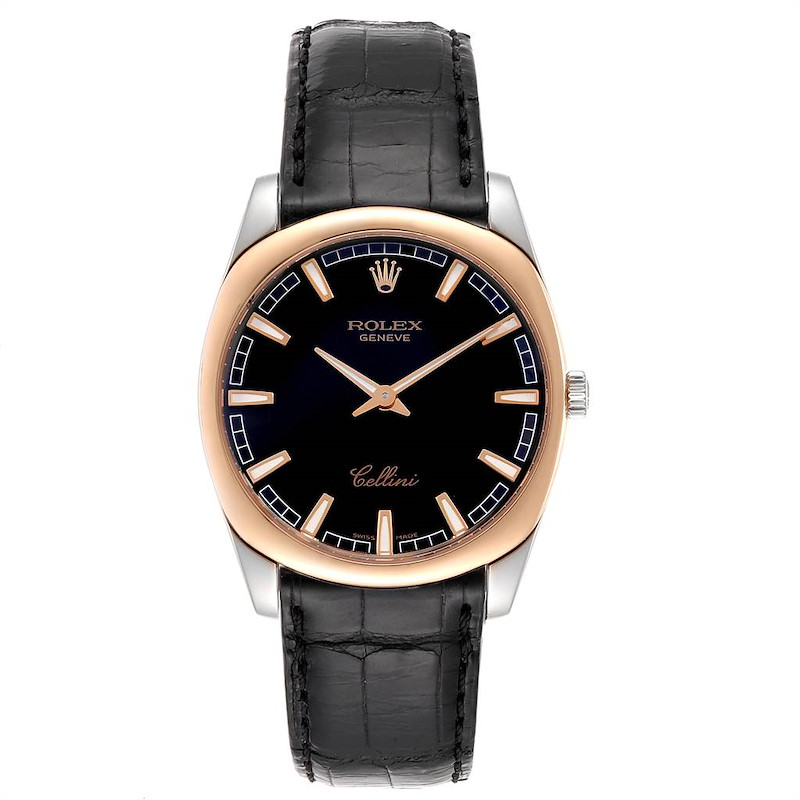 Rolex Cellini Danaos 18k White and Rose Gold Black Dial Watch 4243 SwissWatchExpo