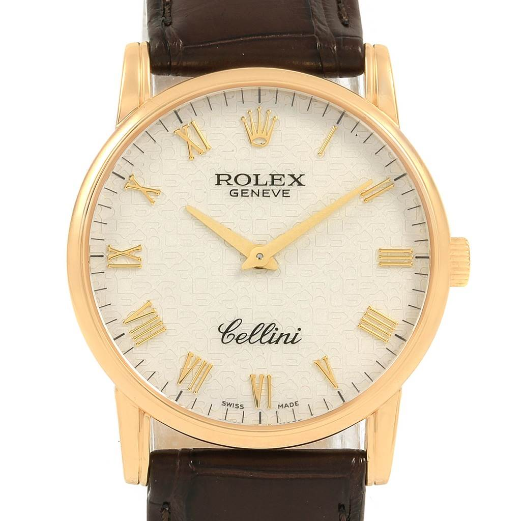 21051 Rolex Cellini Classic 18k Yellow Gold Ivory Jubilee Dial Watch 5116 SwissWatchExpo