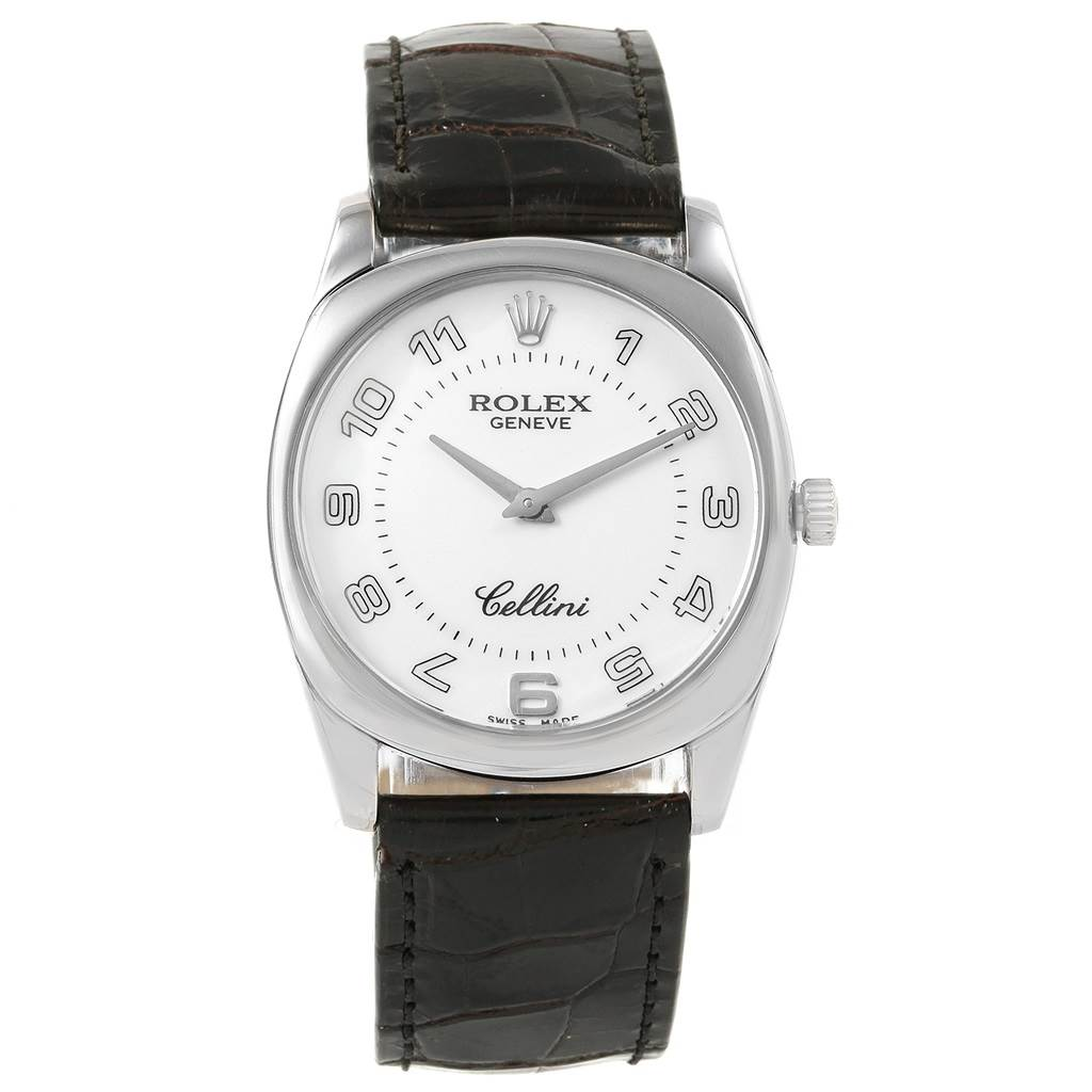 Rolex Cellini Danaos White Gold Black Strap Mens Watch 4233 Box Papers SwissWatchExpo