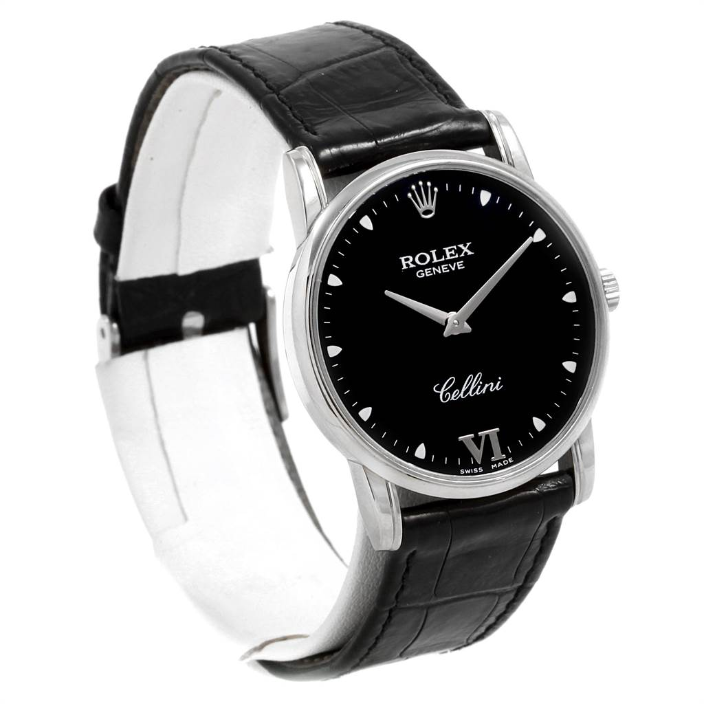 21678 Rolex Cellini Classic White Gold Black Dial Watch 5116 Box Card SwissWatchExpo