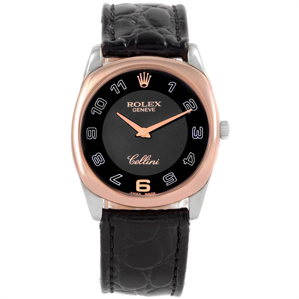 21614 Rolex Cellini Danaos White Rose Gold Black Strap Mens Watch 4233 SwissWatchExpo