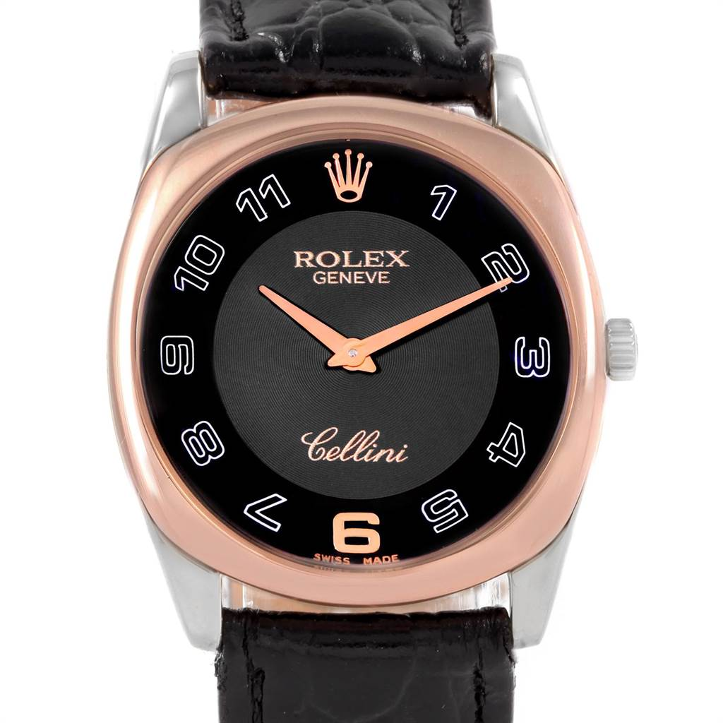 21614 Rolex Cellini Danaos White Rose Gold Black Strap Mens Watch 4233 SwissWatchExpo
