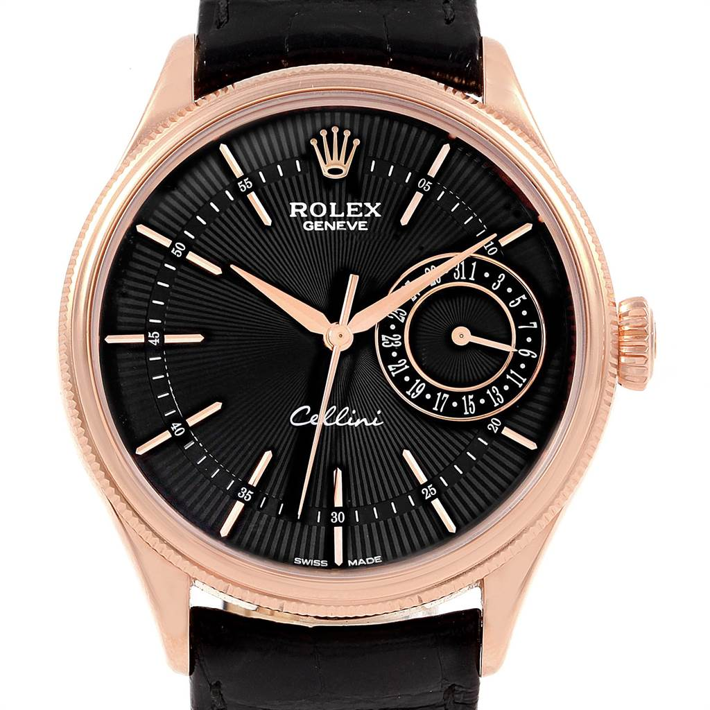 21758 Rolex Cellini Date 18K Everose Gold Automatic Mens Watch 50515 Box Card SwissWatchExpo