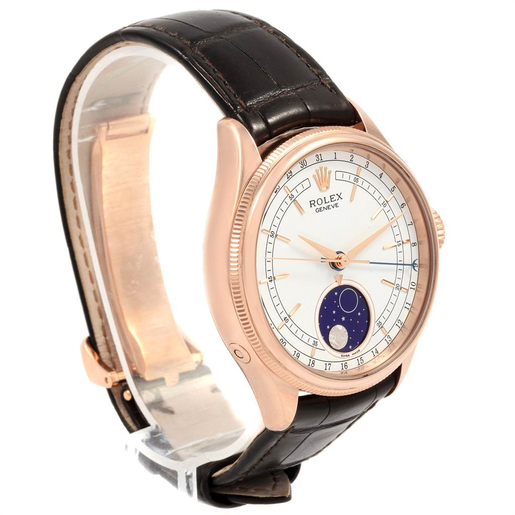 21757 Rolex Cellini Moonphase Everose Rose Gold Automatic Mens Watch 50535 SwissWatchExpo