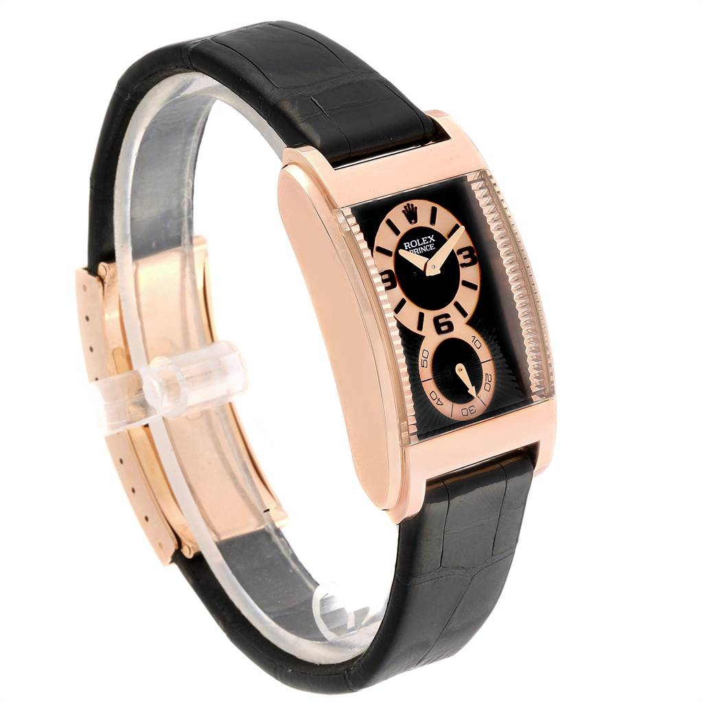 Rolex Cellini Prince 18K Rose Gold Black Dial Mens Watch 5442 SwissWatchExpo