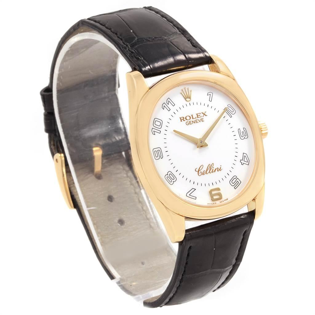 Rolex Cellini Danaos Yellow Gold Black Strap Mens Watch 4233 SwissWatchExpo