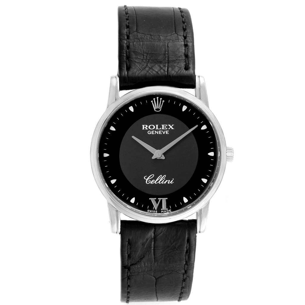 21999 Rolex Cellini Classic 18K White Gold Black Dial Mens Watch 5116 SwissWatchExpo
