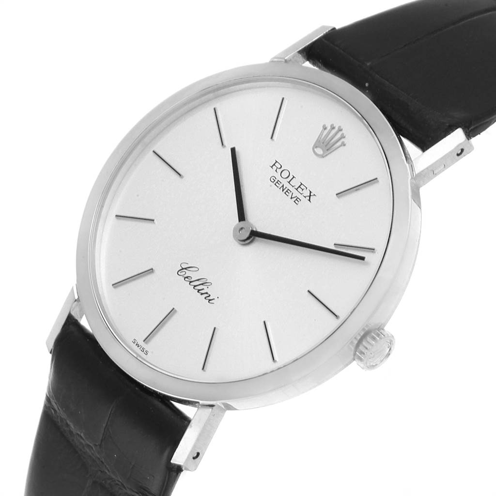 22032 Rolex Cellini Classic 18k White Gold Silver Dial Mens Watch 4112 SwissWatchExpo