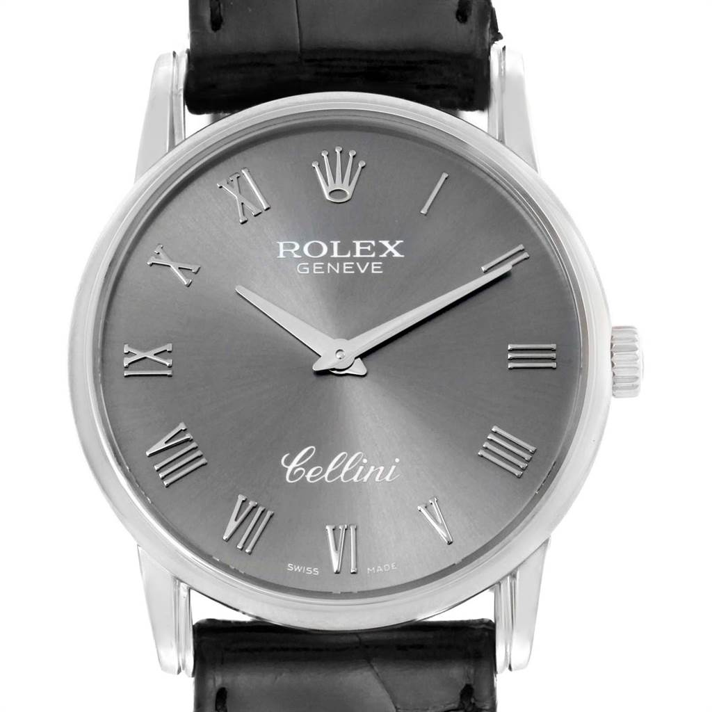 Rolex Cellini Classic Slate Dial White Gold Mens Watch 5116 Box Papers SwissWatchExpo