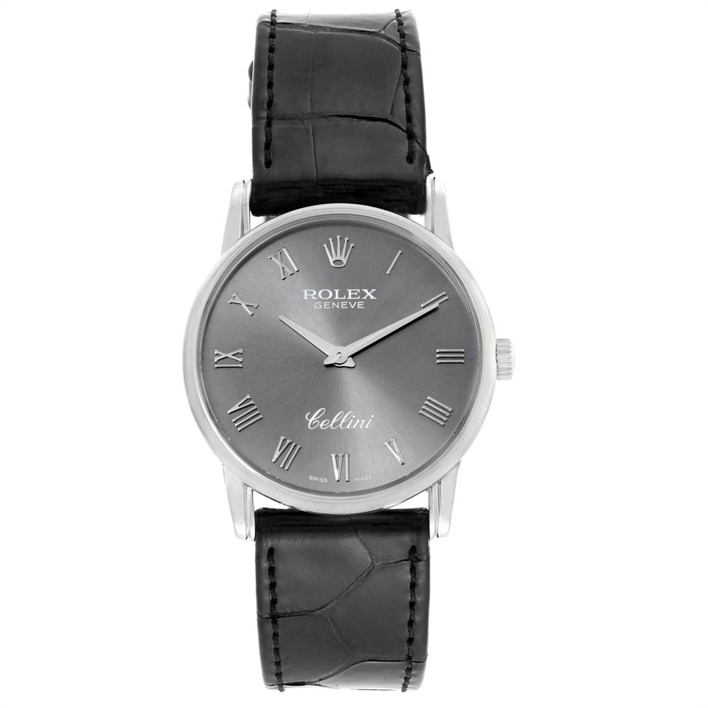 22478 Rolex Cellini Classic Slate Dial White Gold Mens Watch 5116 Box Papers SwissWatchExpo