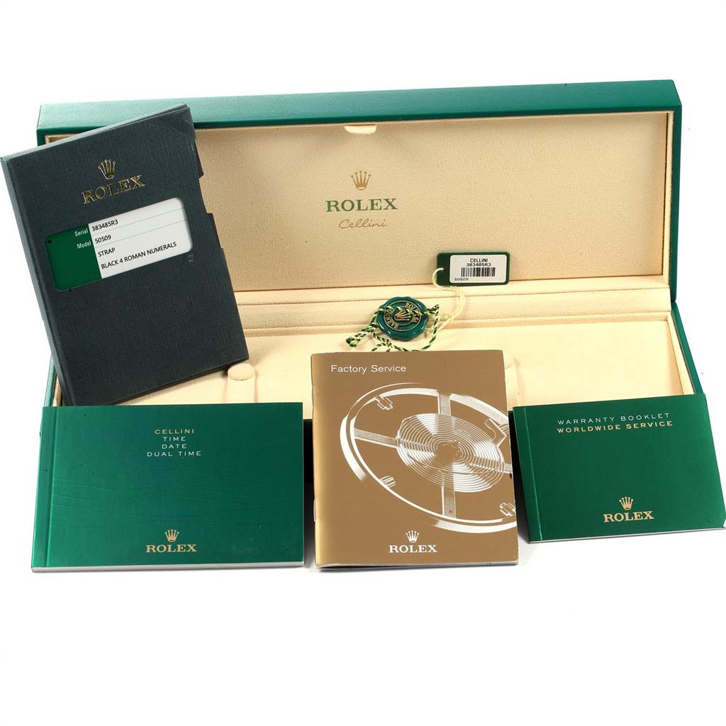 22545 Rolex Cellini Dual Time White Gold Black Dial Mens Watch 50509 Box card SwissWatchExpo