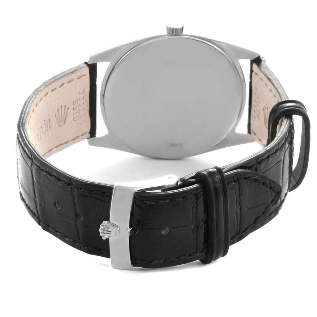 23063 Rolex Cellini Danaos 18K White Gold Black Strap Mens Watch 4233 SwissWatchExpo