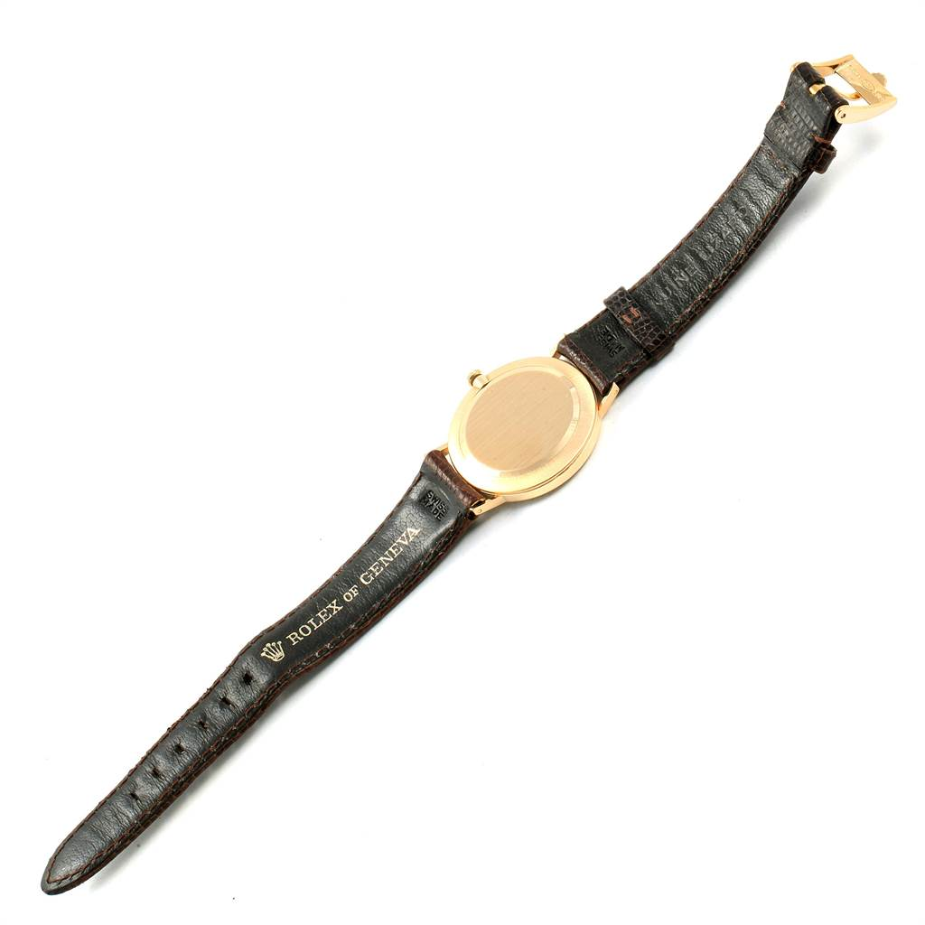 22733X Rolex Cellini Classic 14k Yellow Gold Brown Strap Unisex Watch 3833 SwissWatchExpo