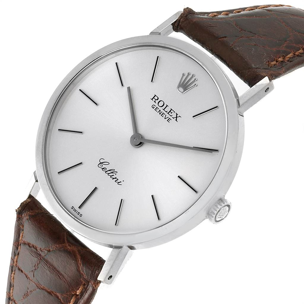 22701 Rolex Cellini Classic 18k White Gold Silver Dial Mens Watch 4112 SwissWatchExpo