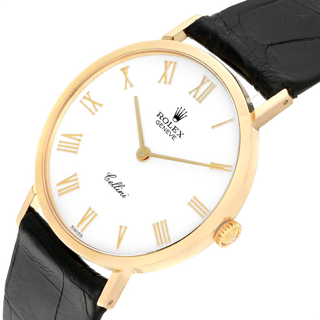 Rolex Cellini Classic Yellow Gold White Dial Mens Watch 4112 SwissWatchExpo