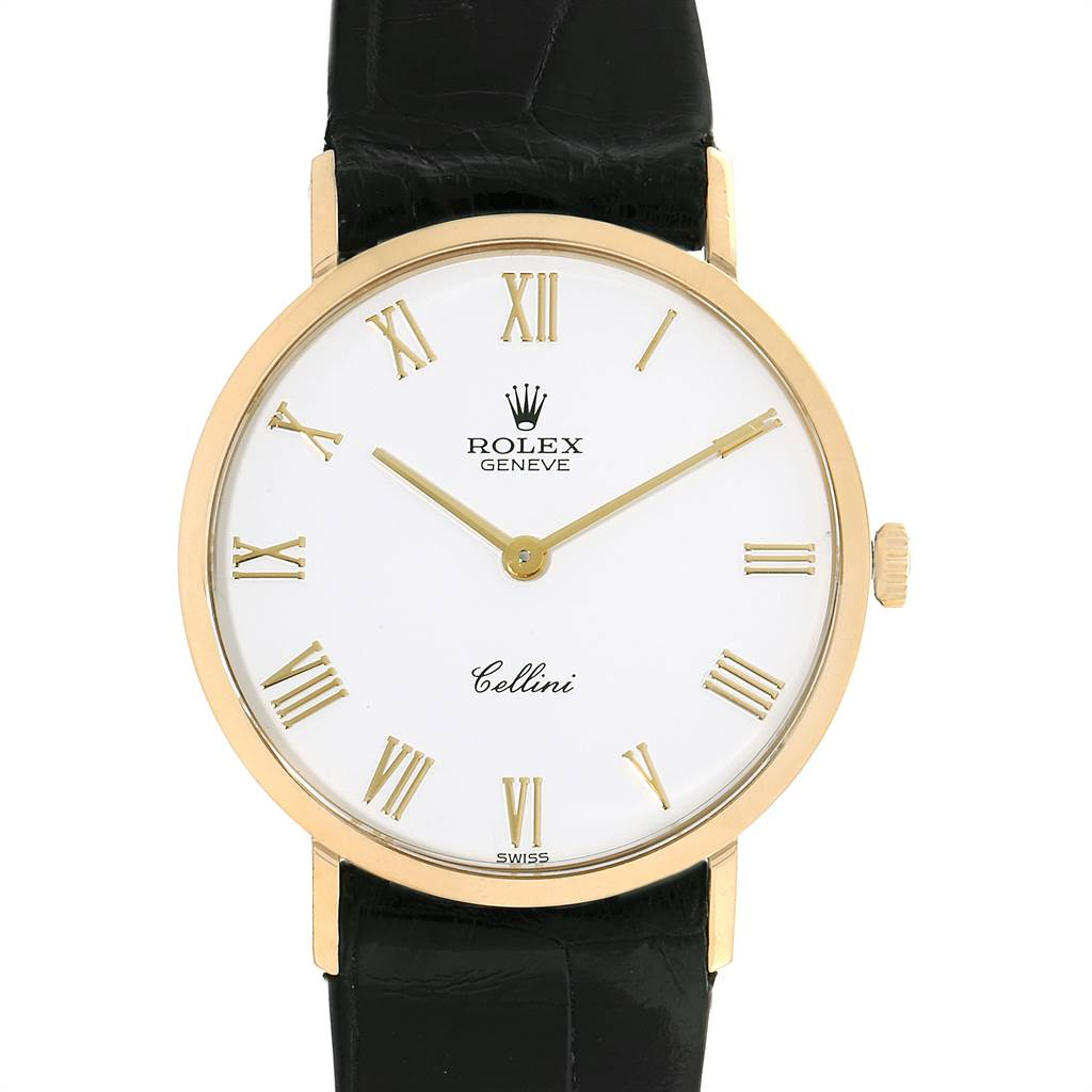 23320 Rolex Cellini Classic Yellow Gold White Dial Mens Watch 4112 SwissWatchExpo