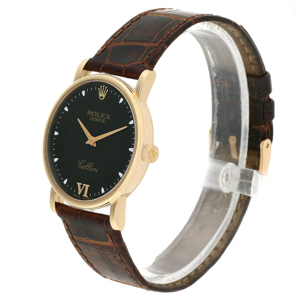 23222 Rolex Cellini Classic Yellow Gold Black Dial Unisex Watch 5115 SwissWatchExpo