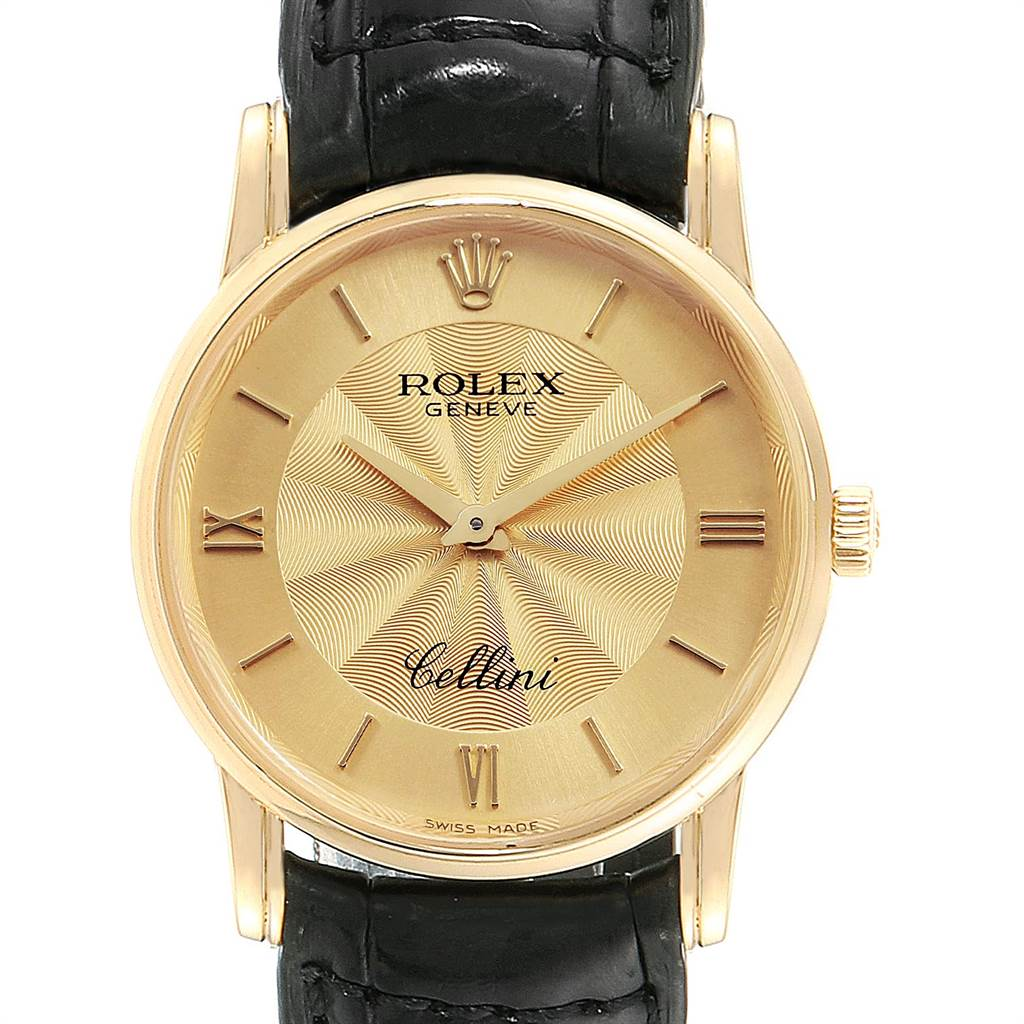 Photo of Rolex Cellini Classic Yellow Gold Decorated Dial Watch 5116