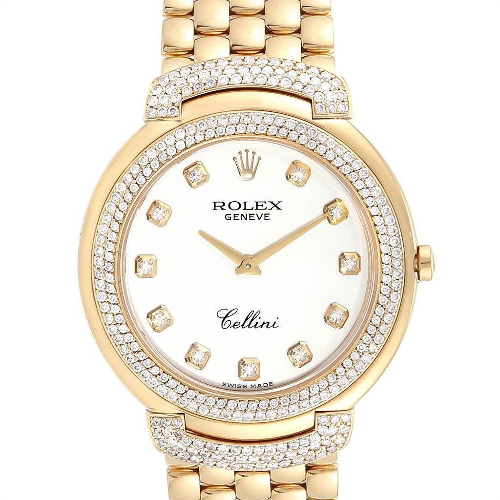 23737 Rolex Cellini Yellow Gold White Diamond Dial Mens Watch 6623 Box Card SwissWatchExpo