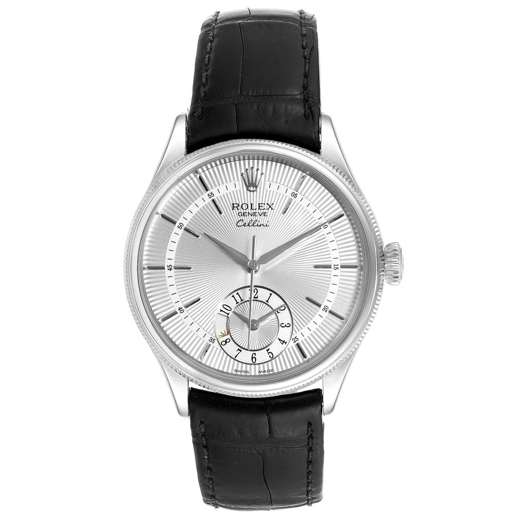 Rolex Cellini Dual Time White Gold Automatic Mens Watch 50529 Box Card SwissWatchExpo