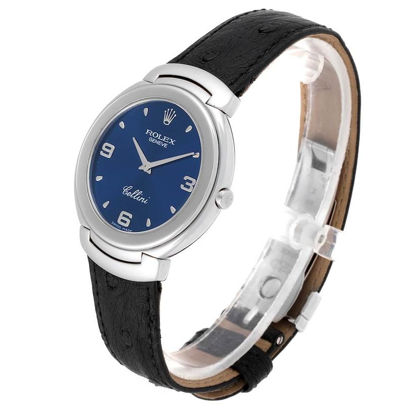 Rolex Cellini White Gold Blue Dial Black Strap Mens Watch 6623 SwissWatchExpo
