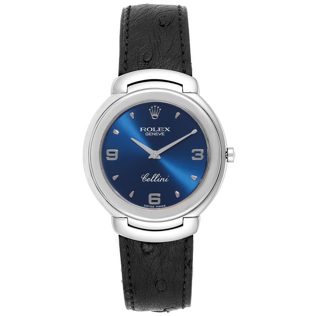 23940 Rolex Cellini White Gold Blue Dial Black Strap Mens Watch 6623 SwissWatchExpo