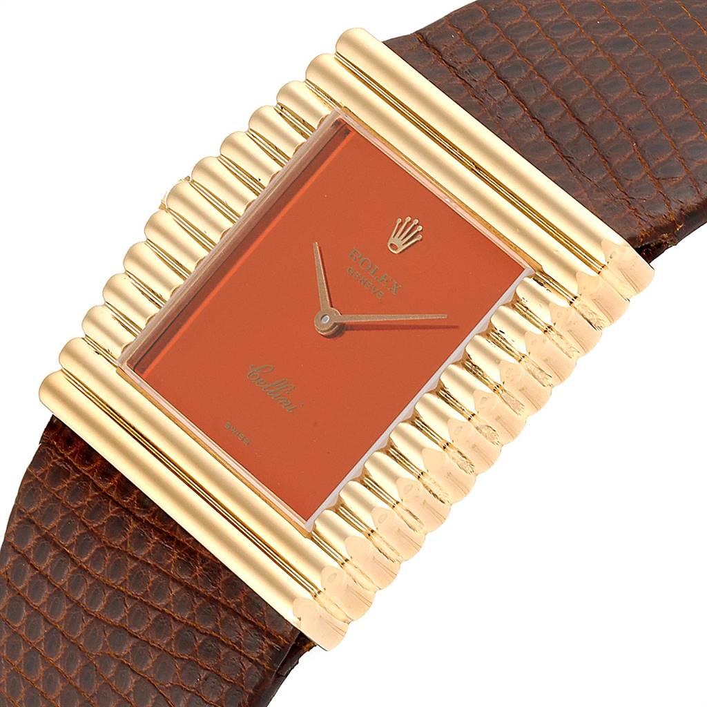 Rolex Cellini Midas Yellow Gold Orange Mirror Dial Vintage Watch 4017 SwissWatchExpo