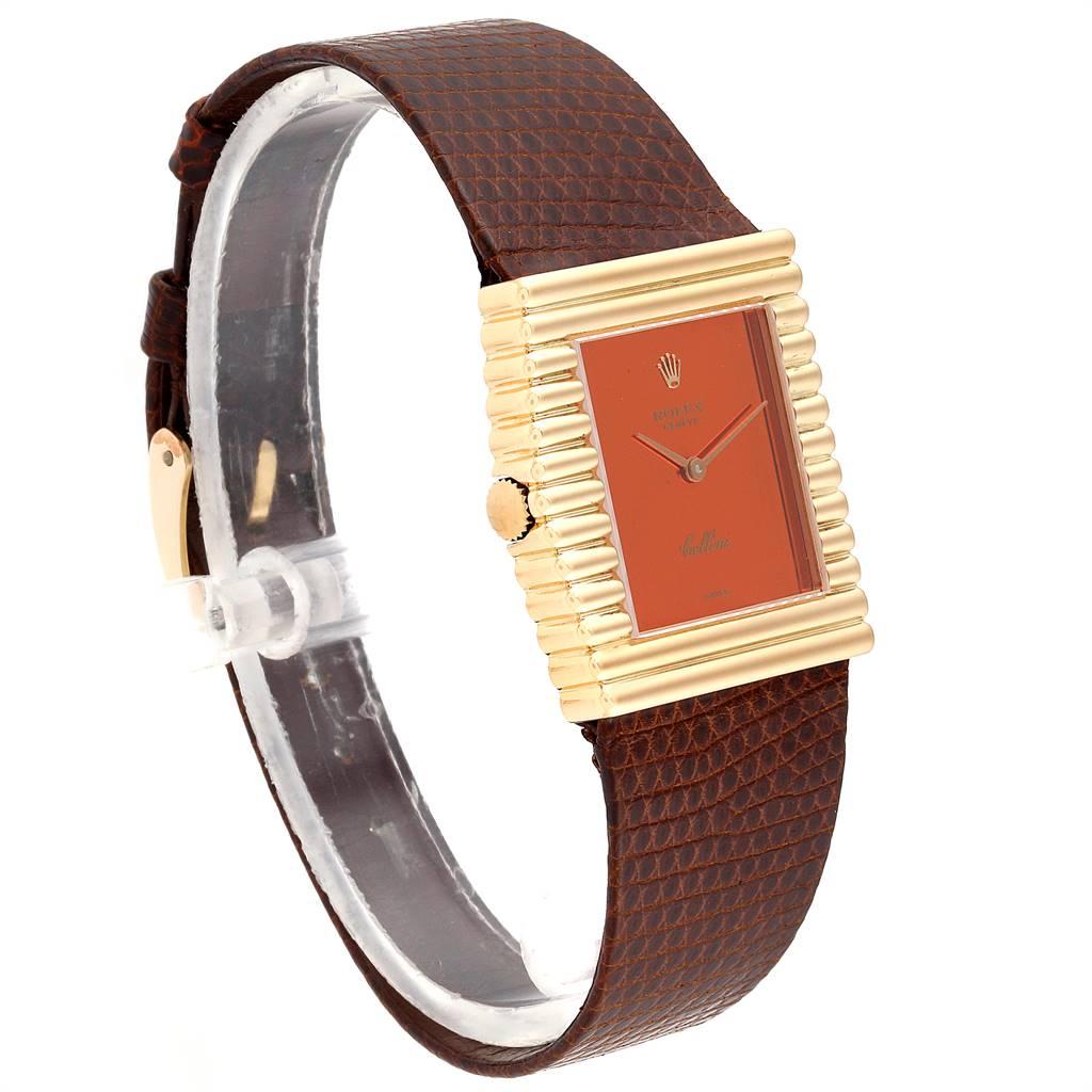 23941 Rolex Cellini Midas Yellow Gold Orange Mirror Dial Vintage Watch 4017 SwissWatchExpo