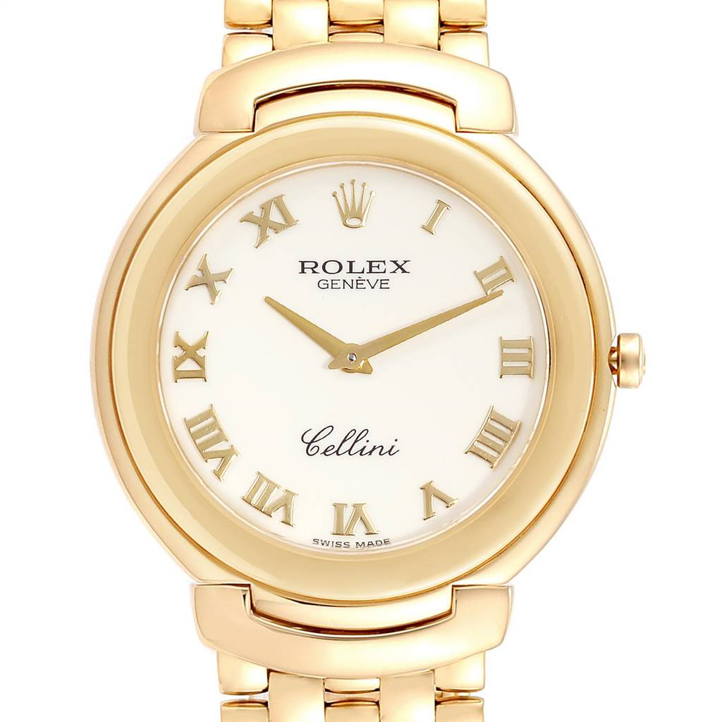 Rolex Cellini 18k Yellow Gold Roman Dial Mens Watch 6623 SwissWatchExpo