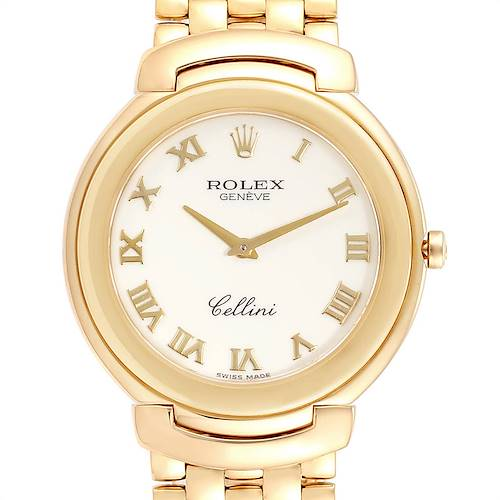Rolex Cellini 18k Yellow Gold Roman Dial Mens Watch 6623
