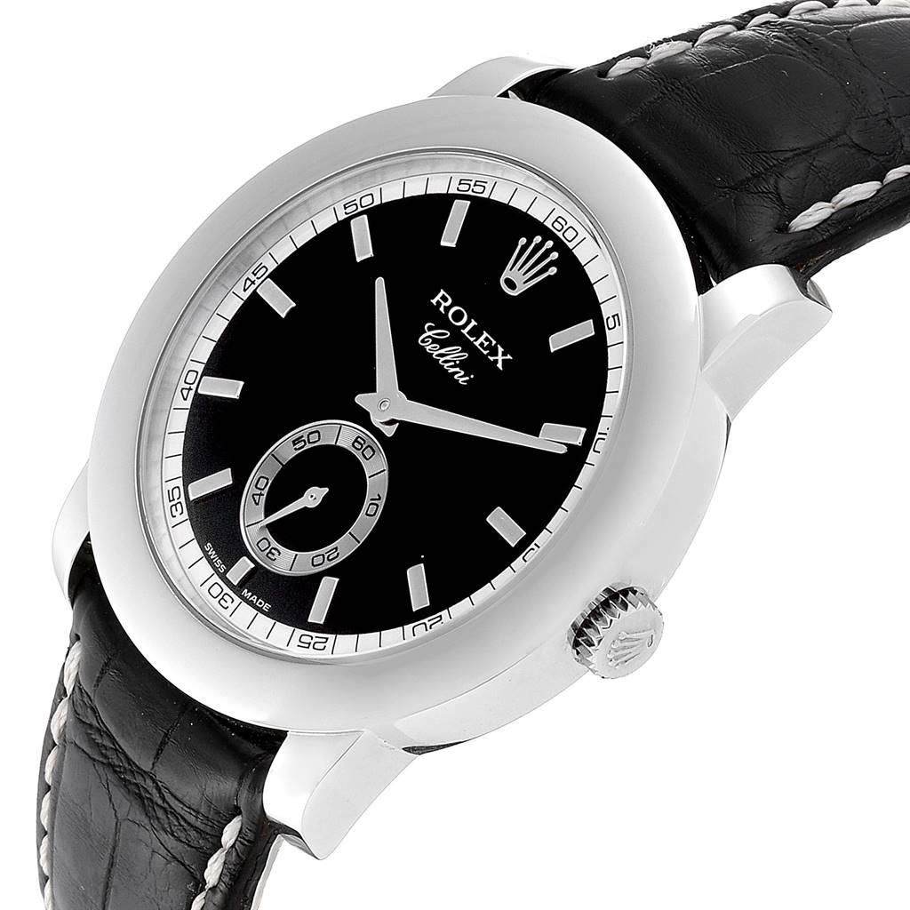 Rolex Cellini Cellinium 35mm Platinum Black Dial Mens Watch 5241 SwissWatchExpo