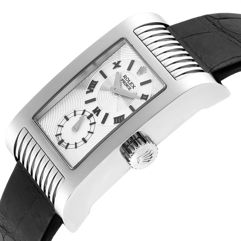 Rolex Cellini Prince White Gold Silver Dial Black Strap Mens Watch 5441 SwissWatchExpo