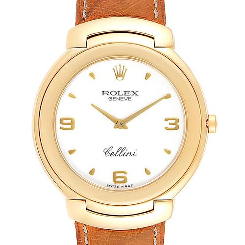 Photo of Rolex Cellini 18k Yellow Gold White Dial Brown Strap Mens Watch 6623
