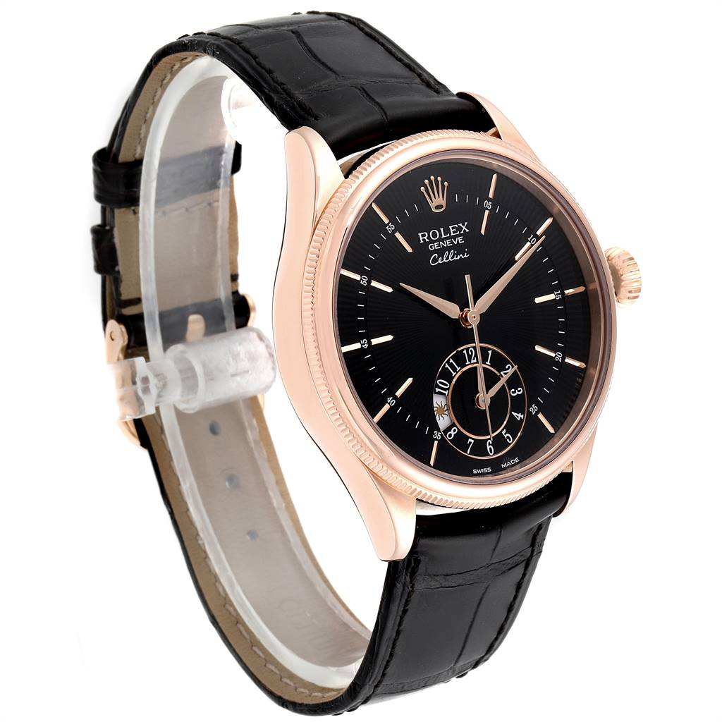 Rolex Cellini Dual Time Everose Rose Gold Mens Watch 50525 Box Card SwissWatchExpo