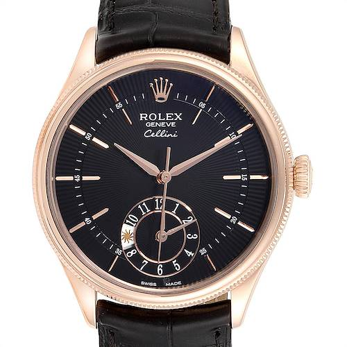 Photo of Rolex Cellini Dual Time Everose Rose Gold Mens Watch 50525 Box Card