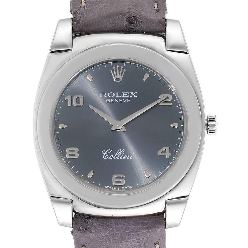 Rolex Cellini Cestello 18K White Gold Slate Dial Mens Watch 5330 SwissWatchExpo