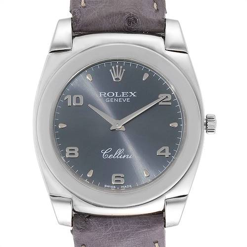 Photo of Rolex Cellini Cestello 18K White Gold Slate Dial Mens Watch 5330