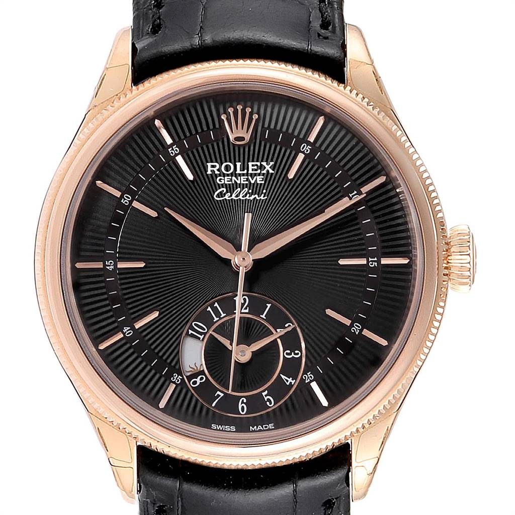 Photo of Rolex Cellini Dual Time Everose Rose Gold Mens Watch 50525 Unworn